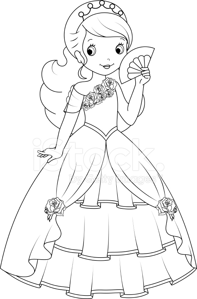 princess coloring page stock vector freeimages