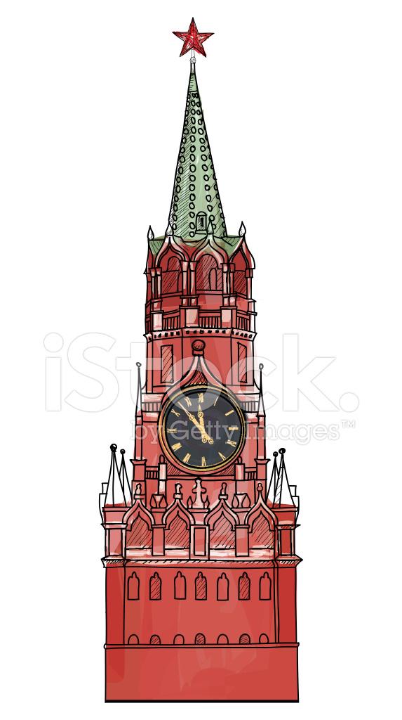 Красными герберами, спасская башня картинки нарисованные