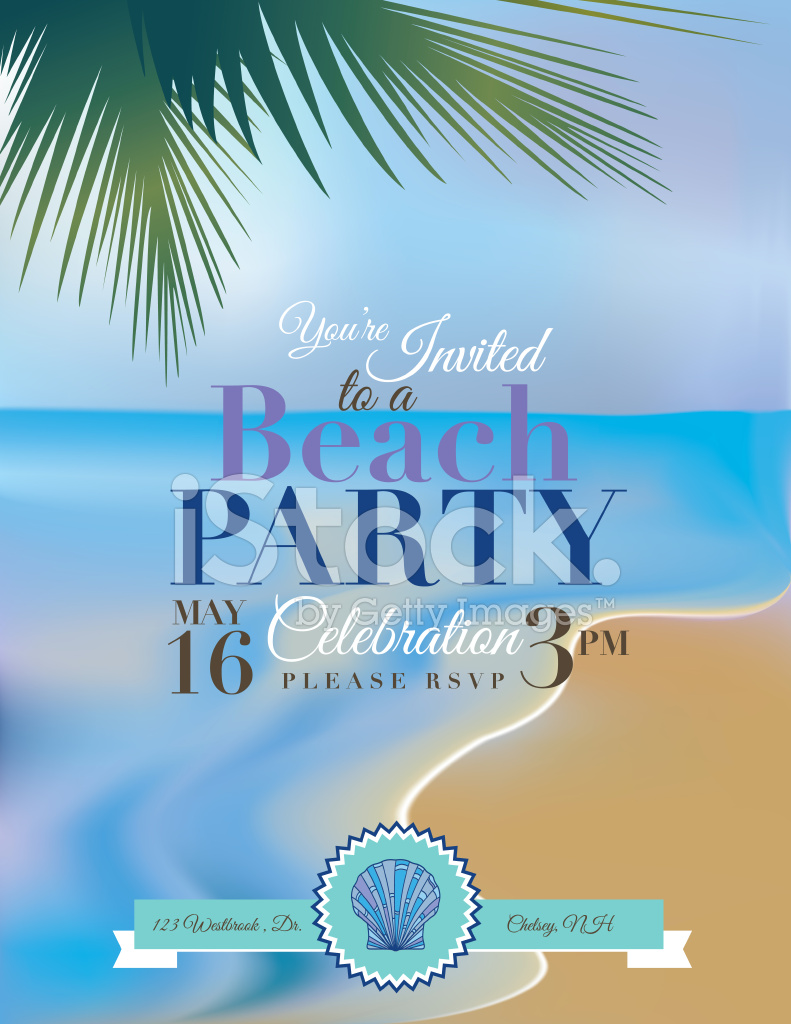 beach or tropical party invitation template stock vector