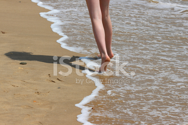 Girl Paddling In Sea Waves Legs Water Barefoot Seaside Beach Stock Photos Freeimages Com