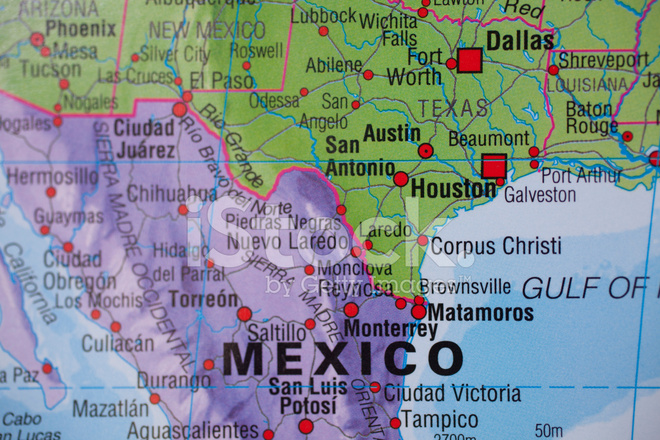 Map Of Texas Mexico.National Borders Map Of Mexico Texas Usa Stock Photos