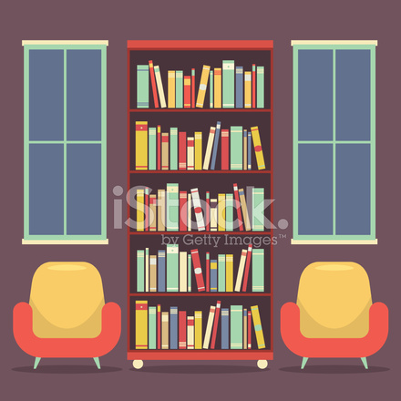 platte ontwerp lezing zitplaatsen en boekenkast vectorillustratie