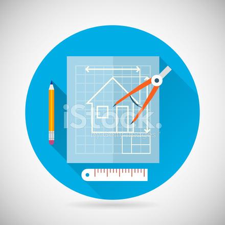 Ingenieur Planung Symbol Blueprint Und Kompass Divider Symbol O