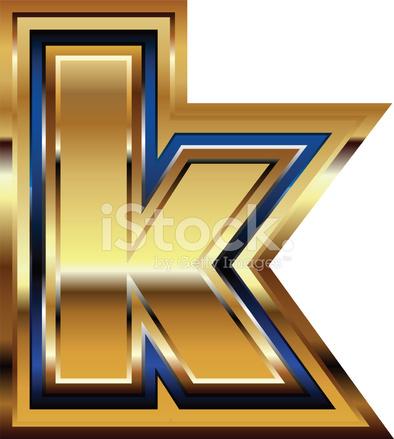 Złotą Czcionką Litera K Stock Vector Freeimagescom