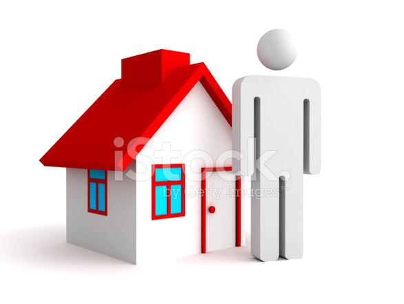 3D Haus Mit Person Mann Symbol. Immobilien Konzept