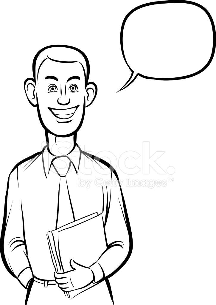白板上画 — — 站微笑商务人士 Stock Vector