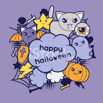 Biglietto Di Auguri Halloween Kawaii Con Disegnini Stock Vector