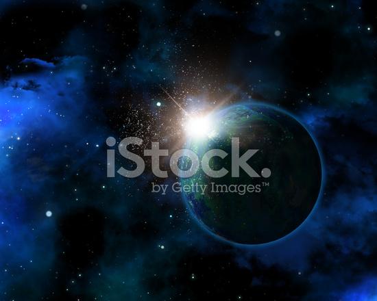 Kurgusal Gezegen Ile 3d Uzay Arka Plan Stok Fotoğrafları