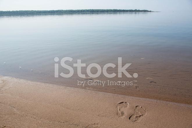 Orme Nella Sabbia Lago Michigan Spiaggia Riva Orizzontale Fotografie ... f6d58231798