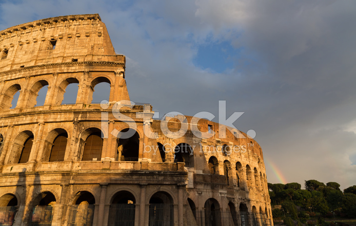 Colosseum IN Rome BY Day With Rainbow Stock Photos