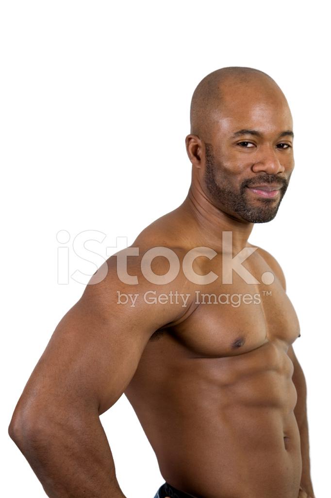 Constructor DE Cuerpo Musculoso Afroamericano, Sin Camisa, Cintura ...