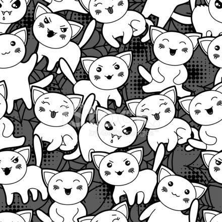 Sans Couture Modèle De Dessin Animé Kawaii Halloween Avec