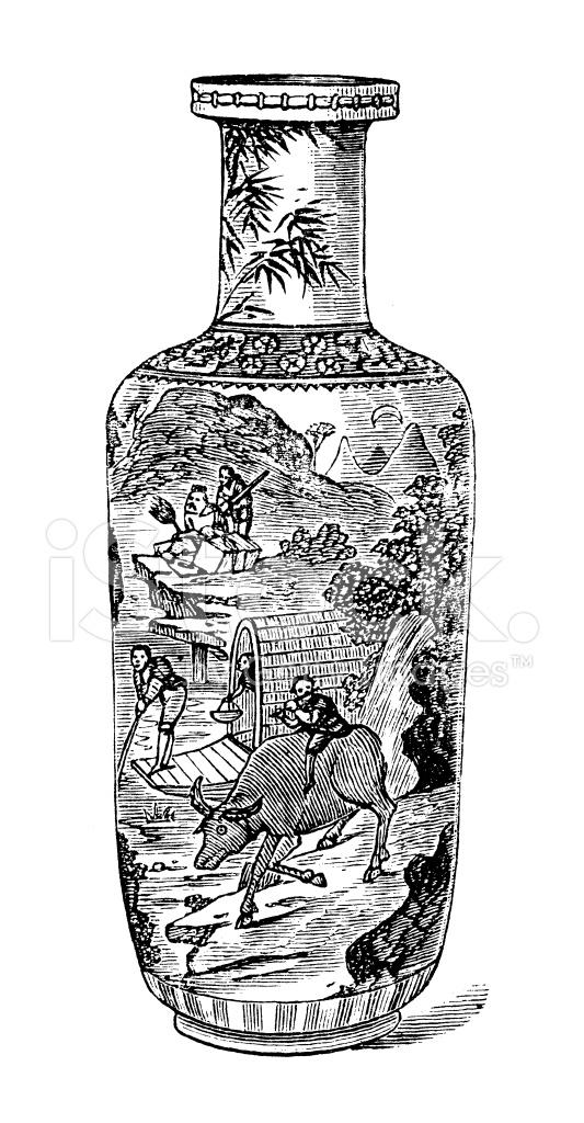 Illustration Antique De Vase En Porcelaine De Chine Stock Vector
