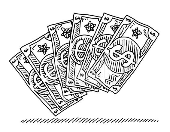 Dibujo DE Dibujos Animados DE Billetes Dólar DE Los Stock