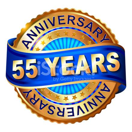 55 Jaar Verjaardag Gouden Label Met Stock Vector Freeimages Com