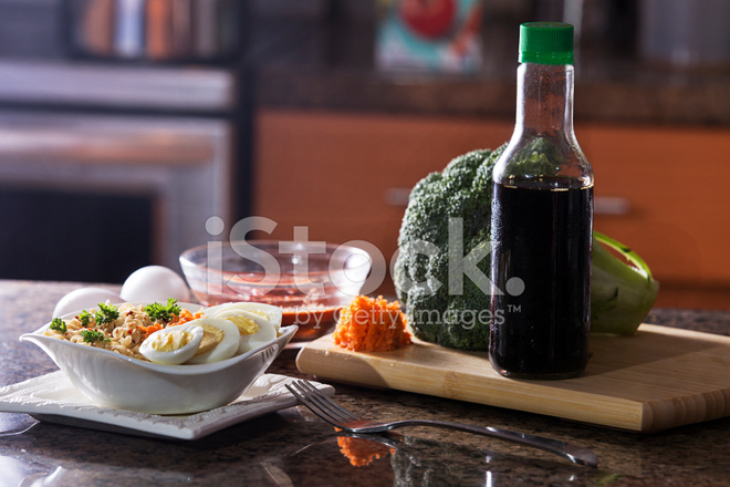 ramen meal with vegetables and soy sauce stock photos