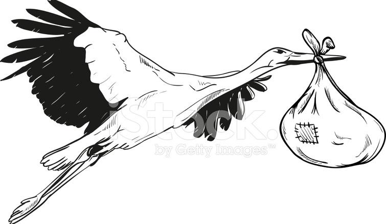 Cigogne Avec Bébé Sac Stock Vector Freeimages Com