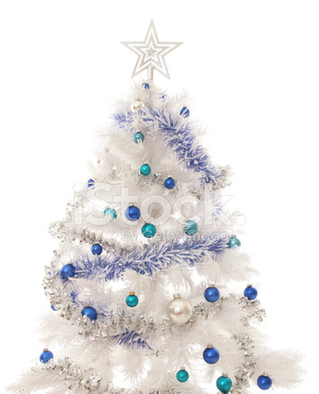 Tinsel And Blue Baubles On White Christmas Tree Stock
