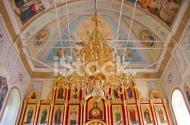 Interior of the orthodox temple, city suzdal, russia stock p.