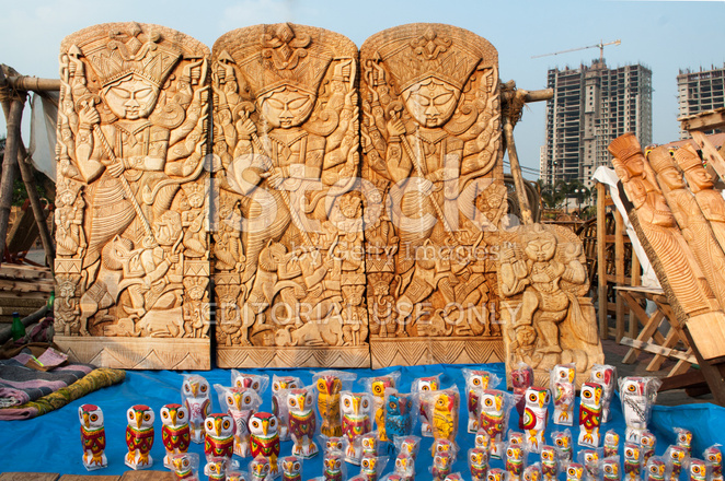 Durga Idol Art Work Indian Handicrafts Fair At Kolkata Stock