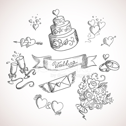 wedding cake box design vector 草绘的婚礼设计元素 stock vector freeimages 22061