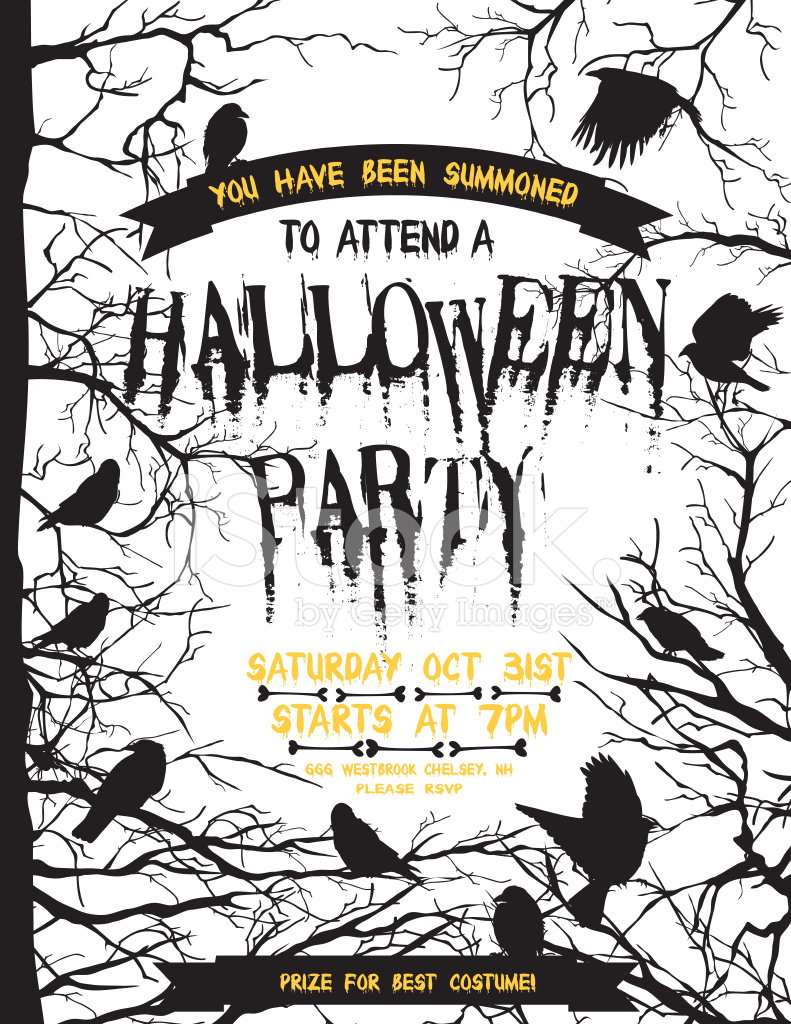Creepy Halloween Party Template With Crows and Ravens Stock Vector ...