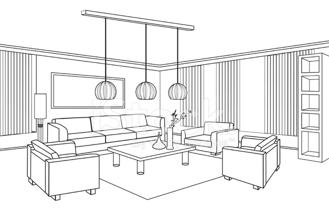 Interior Outline Sketch. Furniture Blueprint. Flat Design Plan.