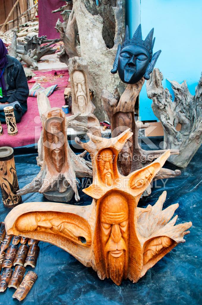Wooden Art Work Indian Handicrafts Fair At Kolkata Stock Photos