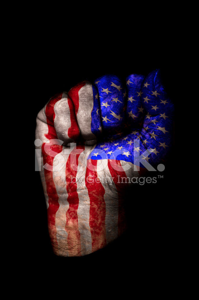 clenched fist with american flag painted isolated on