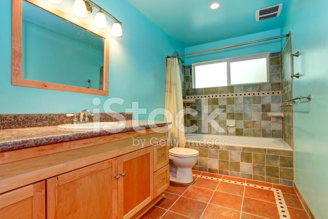 Badkamer Tegels Kleuren : Badkamer in helder blauwe kleur met groene tegel wand trim