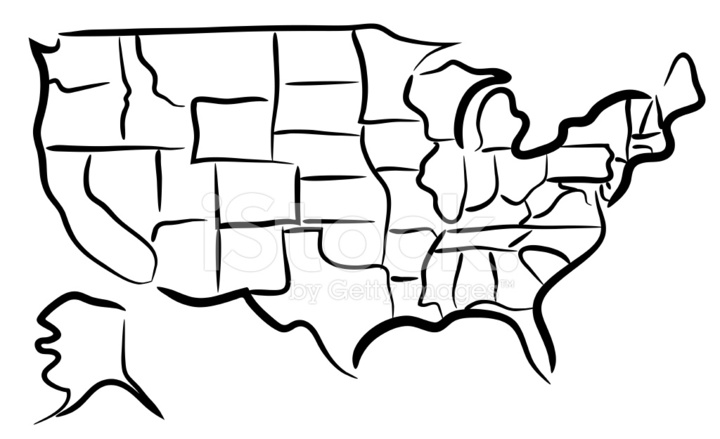 USA Sketch Map Stock Vector FreeImagescom - Us map sketch