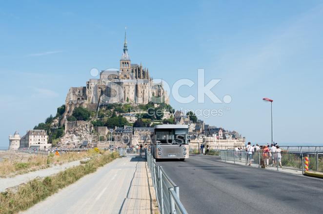 shuttle bus for mont saint michel stock photos. Black Bedroom Furniture Sets. Home Design Ideas