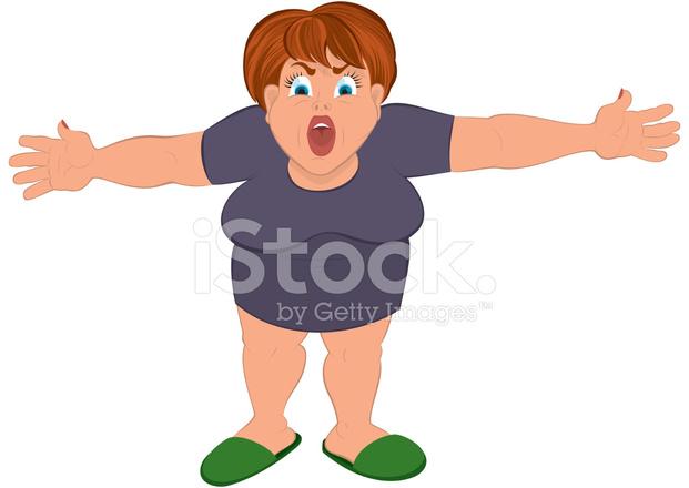 Donna grassa cartone animato con le mani aperte stock