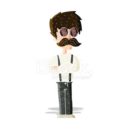 Uomo di cartone animato hipster con baffi e occhiali stock vector