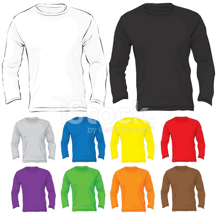 Men\'s Long Sleeved T Shirt Template IN Many Color Stock Vector ...
