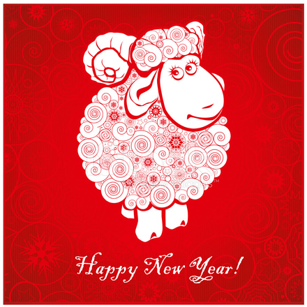 funny sheep on bright red background 1