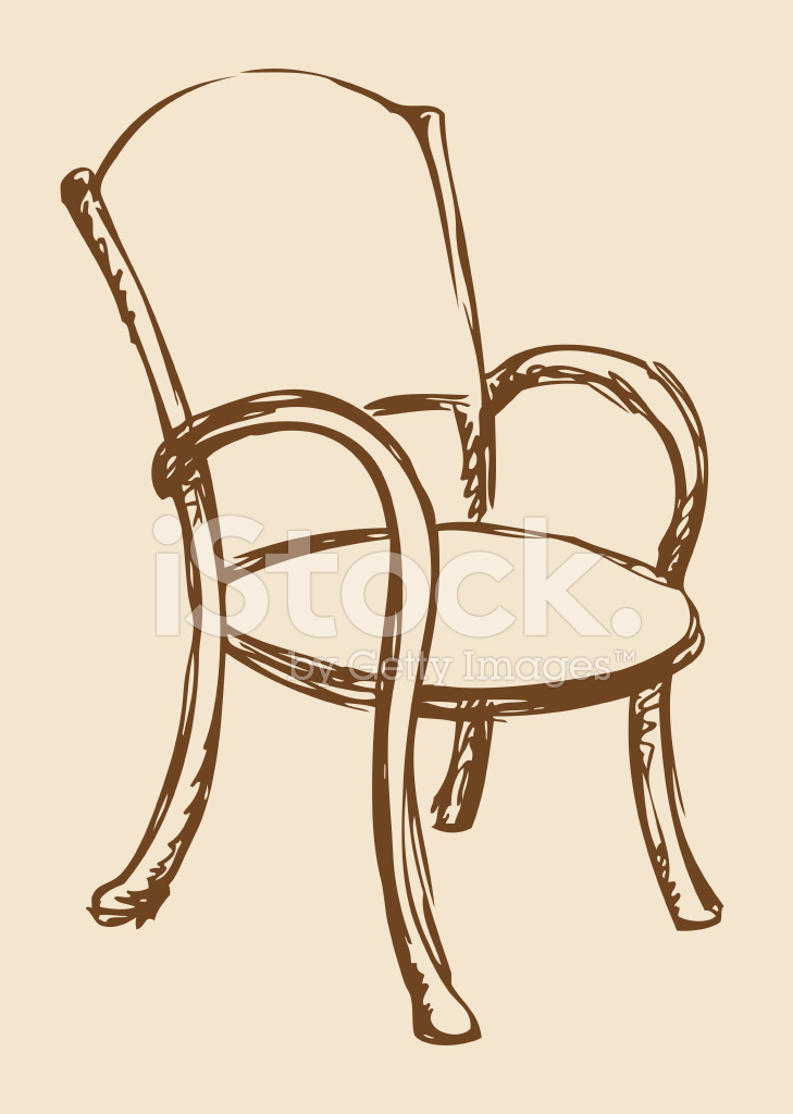 Wooden Chair Drawing ~ Vector wooden chair with armrests stock