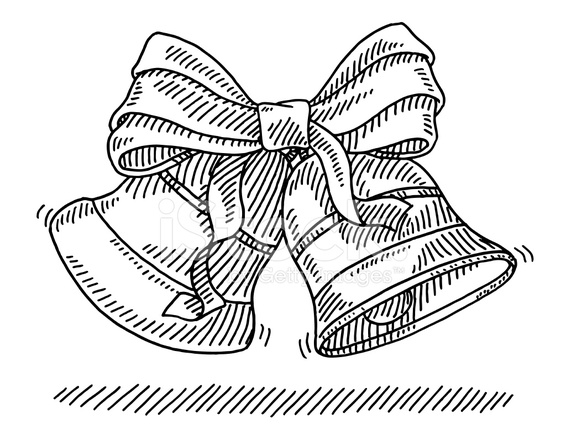 christmas bells ribbon drawing stock vector freeimages com