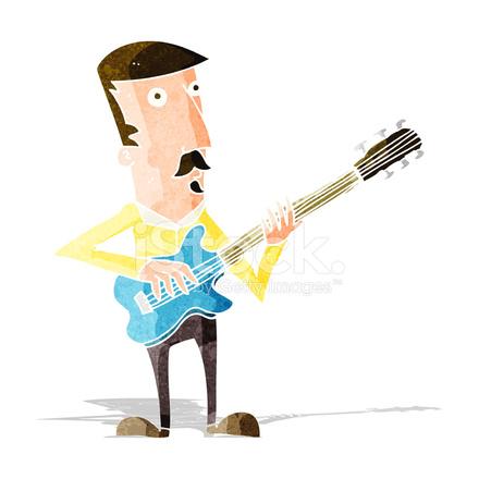 Hombre De Dibujos Animados Tocando La Guitarra Eléctrica Stock