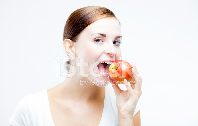 Woman Holding And Biting Red Apple Healthy Teeth Stock