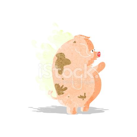 Cartone animato puzzolente grasso di suino stock vector