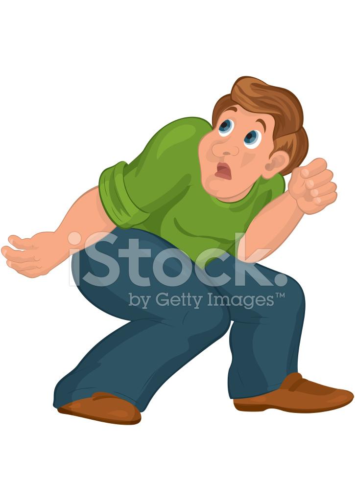Uomo di cartone animato in top verde con ginocchia piegate