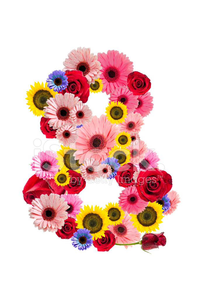 8 Of Hillary Clinton S Most Well Known New York Magazine: Number Eight 8, Flower Alphabet Isolated On Stock Photos