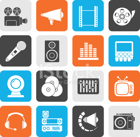 Silhouette audio and video icons stock photos freeimages com