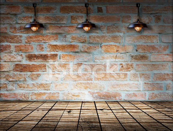 Lamp At Brick Wall Background With Ground Wood Stock