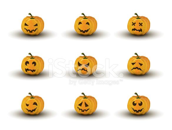 Satz Von Neun Halloween Kürbis Gesichter MIT Emotionen Stock Vector ...