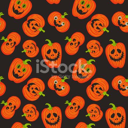 Facce Zucche Di Halloween.Modello Spaventoso Facce Zucche Di Halloween Stock Vector