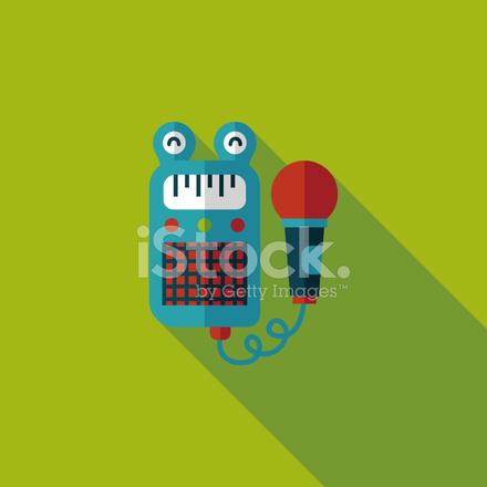 Spielzeug Mikrofonsymbol Flach MIT Langen Schatten, Eps10 Stock ...