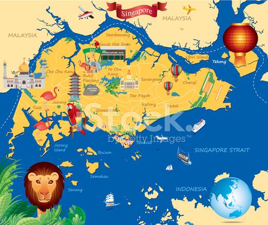 Beautiful Places In Malaysia With Description: Cartoon Map Of Singapure Stock Photos