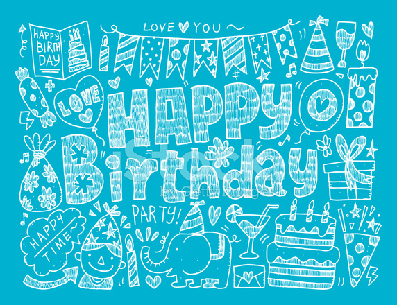 doodle birthday party background stock vector freeimages com